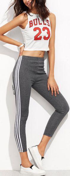 Grey Contrast Striped Side Leggings