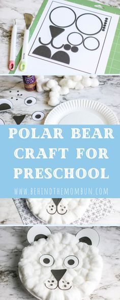 Turn an ordinary paper plate into a magical polar bear craft this winter. This craft goes perfectly with your preschool Polar Animals Preschool Crafts, Preschool Art, Polar Bear Crafts, Preschool Winter, Preschool Learning, Preschool Activities, Teaching, Artic Animals, Winter Crafts For Kids