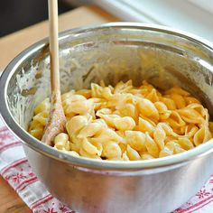 Creamy No-Roux Stove Top Macaroni and Cheese  Serves 4 to 6  What You Need  Ingredients    1 pound pasta, any shape  1 1/2 cups whole or 2% milk  2 tablespoons all-purpose flour  2-3 cups shredded cheese, like cheddar, monterey jack, or colby  1/2 teaspoon salt  1/4 teaspoon powdered mustard  Optional extras (cook before adding): Ham, bacon, onions, peas, mushrooms, peppers, broccoli, cauliflower