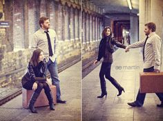 train station engagement session with vintage suitcase. ae martin photography (st louis metrolink)