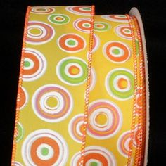 Yellow Green and Orange Circle Print Wired Craft Ribbon 15 x 40 Yards *** Check out the image by visiting the link.
