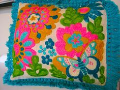 "Vintage Pillow Cover Mod Crewel Embroidery Butterfly & Flowers 15""x15"" - NehiandZotz. $35.00, via Etsy."