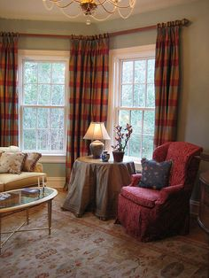 Love these drapes for a bay window! #Traditional #Elegant #Living #Room with #Bay #Window Treatment by Posh Living, LLC, via Flickr