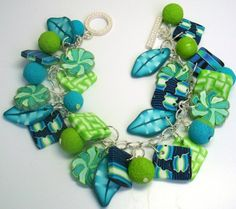 Polymer Clay Lime/Turquiose/Aqua Flowers/Leaf Charm by BeadazzleMe
