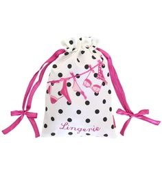 Lingerie Washing Line Bag White with Black Polka Dots by Bombay Duck