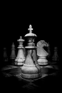 Black and White image of wooden chess pieces by OGphoto Black And White Picture Wall, Black And White Pictures, Dark Photography, Black And White Photography, Cool Wallpapers Black And White, Black And White Aesthetic, White Image, Black Image, Chess Pieces