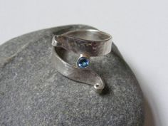 Silver and Swiss Topaz Spiral Ring  UK size M by kerstiewhiley, £42.00