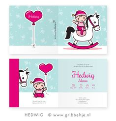 Geboortekaartje met hobbelpaard speciaal voor 2014: het jaar van het paard! - Birth announcement with rocking horse specially made for 2014: the year of the horse! * Made by Gribbeltje *