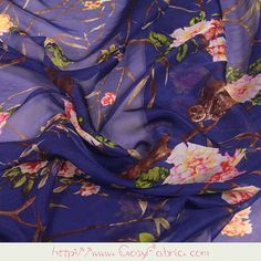 Flowering Flower Tree and Owl Print Purple Pure Silk Chiffon Fabric Fabrics for Summer Width 53 inch Silk Chiffon Fabric, Silk Cotton Sarees, Chanel Style Jacket, Indian Flowers, Owl Print, Apparel Clothing, Bright Purple, Mulberry Silk, Pure Silk