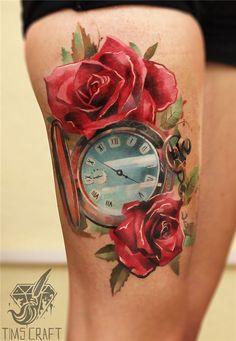 clock n roses thigh tattoo - 55 Thigh Tattoo Ideas <3 <3