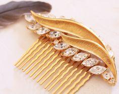 Vintage Golden Rhinestone Brooch Hair Comb