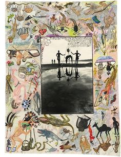 Peter Beard - Moite Bay, Lake Rudolf (Reflections in natural History), 1964-1966 Annotated by the photographer and the artists E. Mwangi and Kuria in ink (109.5 x 82.1 cm)
