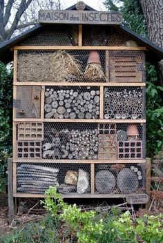 Bee Hotel.is a structure that offers native bees a place to build nests, a place for lady beetles and butterflies and lacewings to seek shelter, and so on. Easy to build with bits and pieces from around the house and garden.