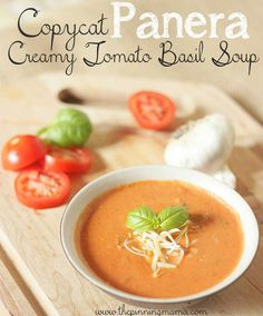 Panera Creamy Tomato Basil Soup I can't believe this takes only 15 minutes to make! Copycat Panera Tomato Basil Soup RecipeI can't believe this takes only 15 minutes to make! Copycat Recipes, Crockpot Recipes, Cooking Recipes, Healthy Recipes, Simple Recipes, Healthy Soup, Copycat Soup Recipe, Recipe Recipe, Lunch Recipes