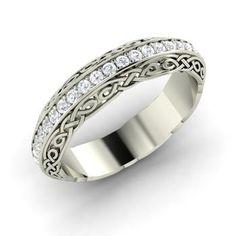 Liv Ring with Round SI Diamond | 0.43 carat Round SI Diamond Wedding in 14k White Gold | Diamondere