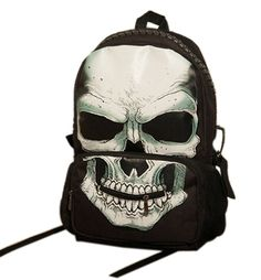 Fashion Month Personalized Unisex 3D Skull Print Felt Fabric School Backpack ** More info could be found at the image url. (This is an Amazon Affiliate link and I receive a commission for the sales)