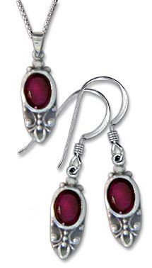 Sterling Silver Oval Garnet Earring and Necklace Set Gold and Diamond Source. $36.00. Save 50%!