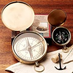 Brass compasses have a steampunk and nostalgic style. Use as desk accessories or in a kids' room as decor.