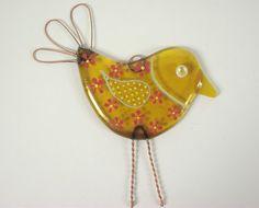 Yellow Bird Fused Glass Suncatcher.