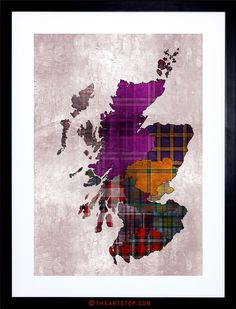 Tartan map of Scotland Framed Art Prints, Poster Prints, Scotland Map, Map Outline, Map Painting, Scottish Gifts, Tartan Pattern, Jingle All The Way, Map Art