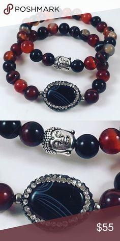 Set of bracelets. Buddha ,quartz and tourmaline set of two bracelets. Tourmaline gemstones. Buddha charm. Druzzy dark blie Quartz and cubic zurconia charm. Fits most. Stretchy. 6 inch to 7 inch wrist. Jewelry Bracelets