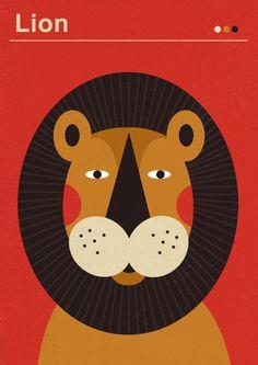 Dawid Ryski / Posters for Kids – Lion Lion Poster, Lion Illustration, Arte Tribal, Lion Art, Arte Pop, Illustrations And Posters, Animal Design, Book Design, Lions