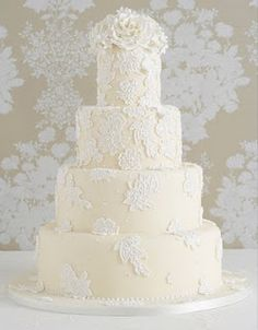 Lace Cake Over Cream Not Yellow Frosting And Peony Topper