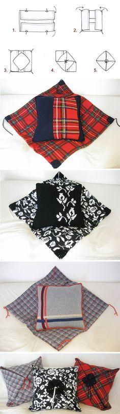 Origami da divano: plaid (155x180cm) in pile, bordato con fettuccia, cuscinone (60x60cm) in 100% lana lavorata a maglia a mano in fantasia che richiama il plaid, imbottitura in poliammide. 5 semplici mosse per richiudere il plaid sul cuscino! Sofa-Origami: polar fleece blanket (61x71 inch), with trimming, big cushion (23x23 inch) in 100% handknitted wool: the cushion pattern links with the blanket pattern. Filling in polyammide. 5 easy steps to close the blanket on the cushion! Da/from €100