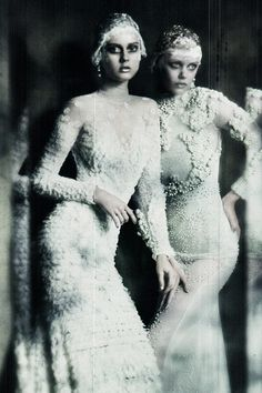 Jac Jagaciak and Frida Gustavsson wearing Givenchy Couture ph. by Paolo Roversi | Vogue Italia