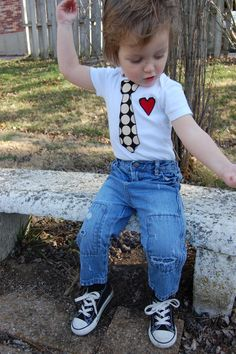 Swanky Shank Boy Onesie with Tie and heart Love me by SwankyShank, $7.00