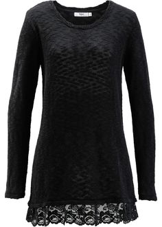 knitted sweater with lace trim <3