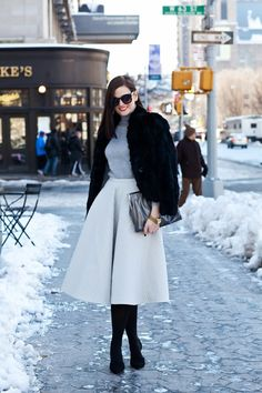 NYFW / Street Style / New York Fashion Week / Midi Skirt / Monochromatic Trend / Winter Fashion / Tiffany Style Blog