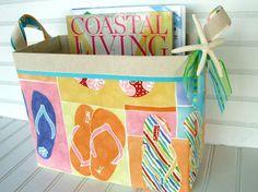 Flip flop fabric storage basket!  Use for magazines or flip flops!   Etsy