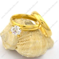 Economic Gold Stainless Steel #CoupleRings for Pairs r002572 @ US$ 1.41