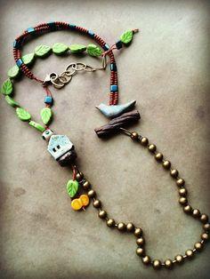 Mixed Media Asymmetrical Necklace with Bird by LoreleiEurtoJewelry