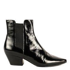 CLASH Boots Black Vinyl Leather