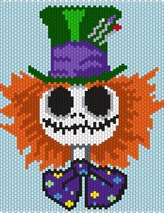 Mad Hatter Jack Skellington (Multi / Brick Stitch Pattern) & many more applications. Perler Bead Templates, Pearler Bead Patterns, Kandi Patterns, Seed Bead Patterns, Peyote Patterns, Beading Patterns, Beading Tutorials, Bracelet Patterns, Cross Stitching