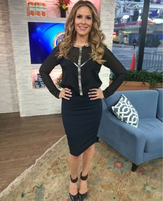 Friday, April 4th | Dina's outfit included: GUESS BY MARCIANO Black Sheer Blouse with Silver Embroidered Beading $158.00 Ann Taylor Sapphire Gemstone and Rhinestone Bracelet $59.50 & Cobalt and Black Animal Print Pencil Skirt $89.00 Hudson's Bay Crystal and Black Stone Earrings $6.99 & SAM EDELMAN Black Heels with Ankle Straps $185.00