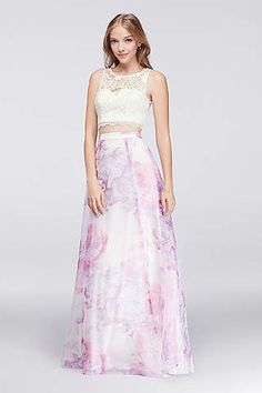 e8ff4a8c89dd6f Lace Crop Top and Printed Organza Skirt Set  159.95 Prom Outfits