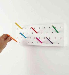 @Denoe BCN Design . Pennxero is a modular storage system that uses pencils instead of hooks to keep your items organized. #wallhooks #Pennxero #Denoe #organization