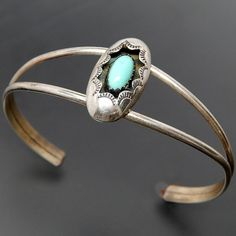 NATIVE AMERICAN NAVAJO SIGNED CP STERLING SILVER TURQUOISE STAMP WORK SHADOWBOX SPLIT SHANK CUFF BRACELET – Gold Stream Boutique