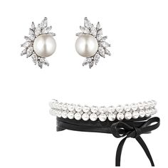 """@fallonjewelry on Instagram: """"Lady and the Tramp. FALLON Monarch cluster pearl earrings and the leather pearl wrap choker. #fallonjewelry"""""""