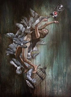 "Title: THE PURSUIT OF HAPPINESS Medium: Oil on Canvas Size: Height: 121.5 cm Width: 88 cm Depth: 2.5 cm  Artist: Hari Lualhati ""Everyone has a purpose in life and it's our task to figure out why we do exist. More and more people unfortunately get stuck in cages, trapped by fear. The key is to listen to our inner voice and follow our heart. This may unlock our greatest potential to be a better version of us. We are born to be happy. HariLualhati.Artist"