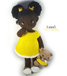 African American Crochet Doll - Handmade Crochet Doll - 20 inch doll - Black doll in pajamas - Black Afro Puff Doll