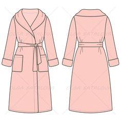 Women's Bath Robe Fashion Flat Template
