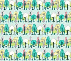 Forest: Trees - Spring fabric by bronhoffer on Spoonflower - custom fabric