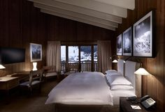 The Luxury Chalet of the Year, 2016 in the Alps in Lech. Hotel Lech, Wooden Room, Lounge, Open Fireplace, Luxury Rooms, Das Hotel, Double Room, Spacious Living Room, House Goals