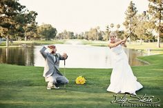 Fun Bride & Groom Golf Photo - Alta Vista Country Club Wedding