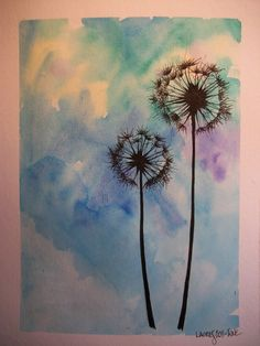 """this is an original watercolor painting of dandelions in silhouette against a vivid turquoise and blue background. this painting measures 6.5""""x8.5"""". it has a white mat and a finished measurement of 9""""x12"""". unframed."""