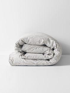 Vintage Stripe Duvet Cover by Aura - Mink Quilt Bedding, Linen Bedding, Queen Bed Quilts, Superking Bed, Round Stool, Striped Quilt, Quilt Cover, Natural Linen, Duvet Covers